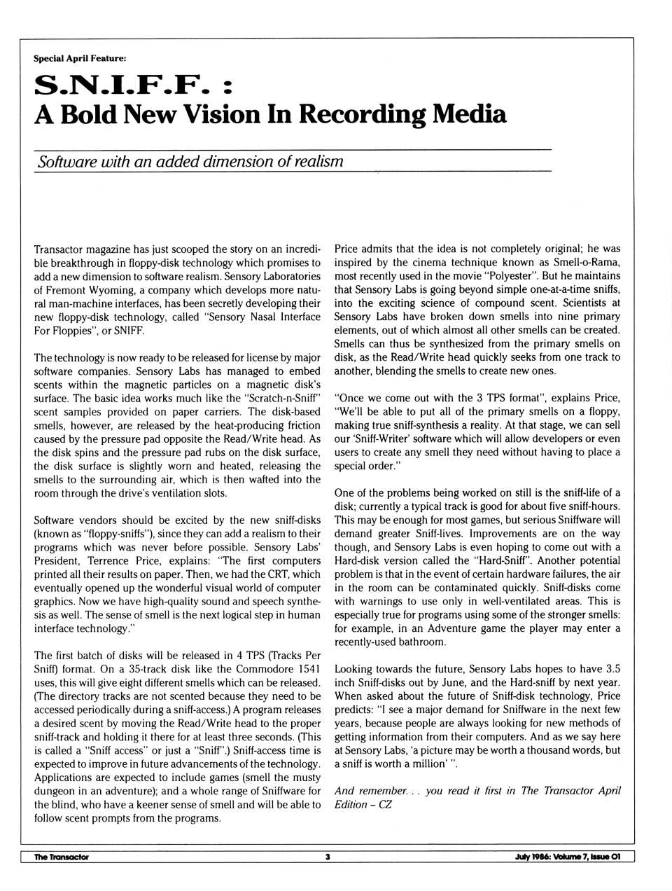[S.N.I.F.F.: A Bold New Vision in Recording Media]