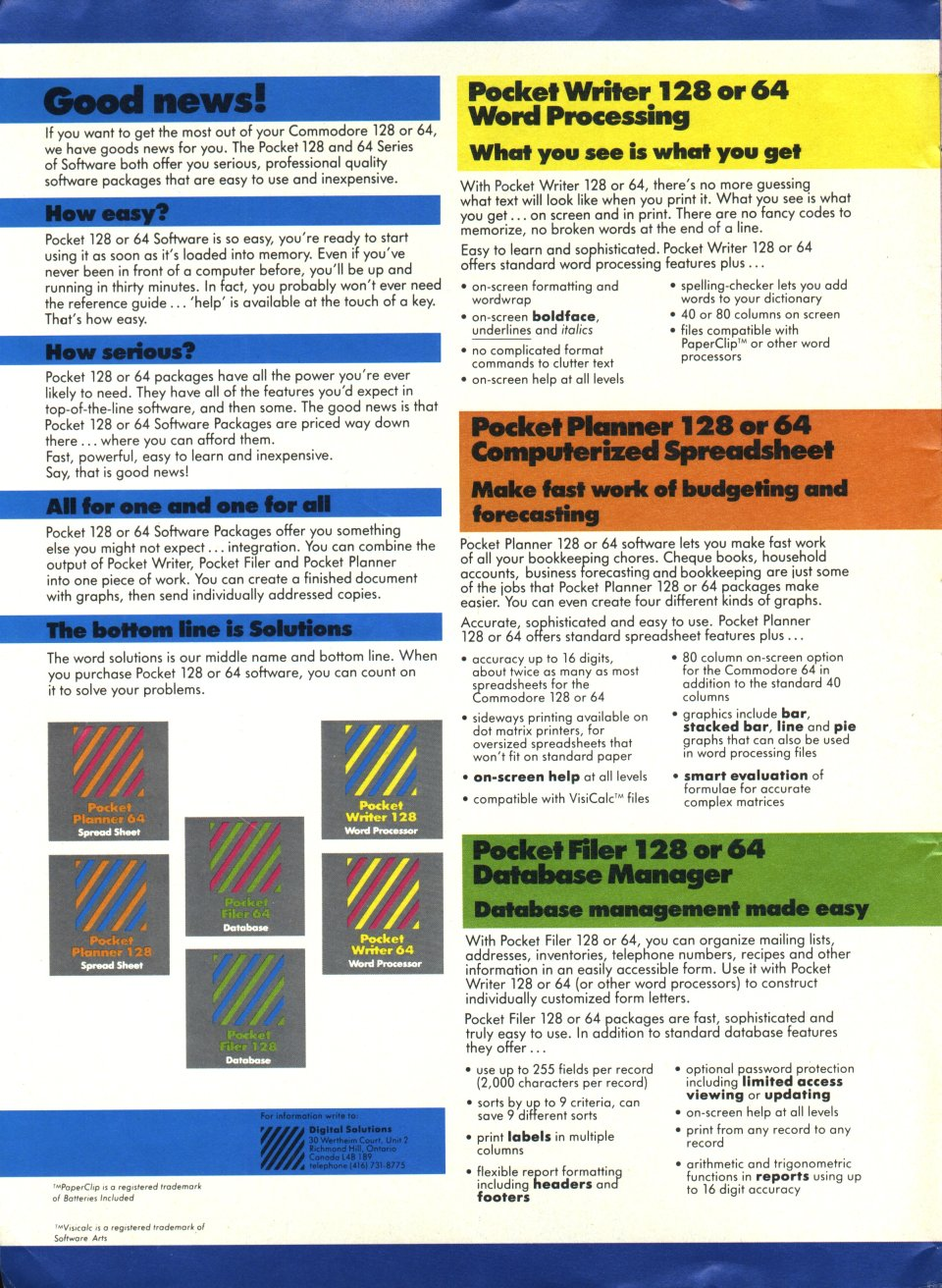 [Advertisement: Pocket Writer, Pocket Planner and Pocket Filer for the Commodore 128 and 64 (Digital Solutions Ltd.)]