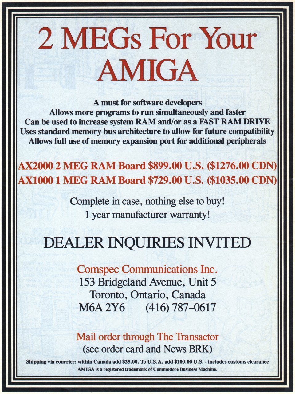 [Advertisement: 2 MEGs For Your Amiga by Comspec Communications Inc.]