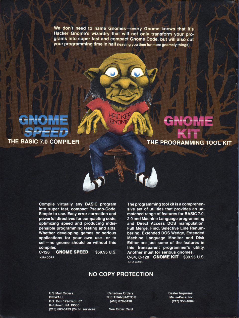 [Advertisement: GNOME Speed (BASIC 7.0 compiler) and GNOME Kit (programming, designing and debugging aids for BASIC and machine language programming) by SM Software, Inc.]