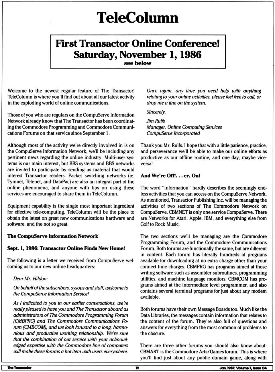 [TeleColumn (1/5)  First Transactor Online Conference! Saturday, November 1, 1986]