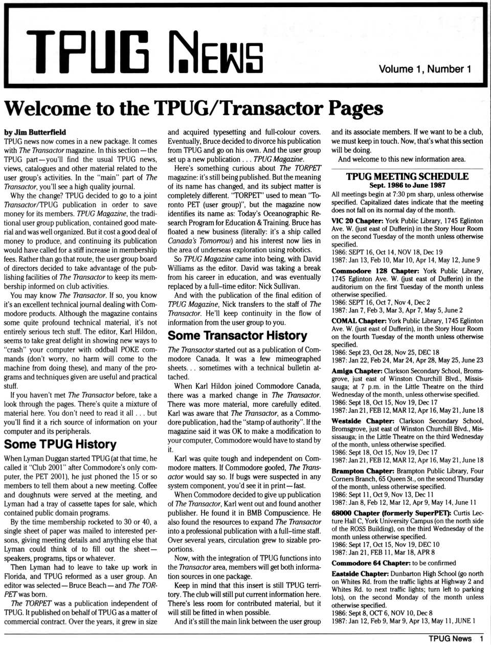 [TPUG News, Volume 1, Number 1, page 1  Welcome to the TPUG/Transactor Pages]