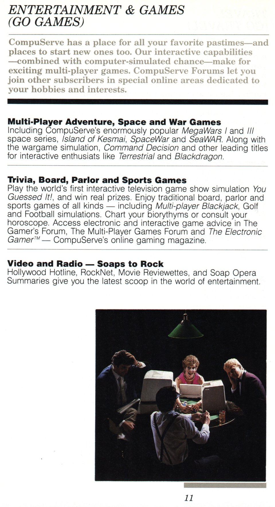 [CompuServe IntroPak page 11/44  Entertainment & Games (GO GAMES)]