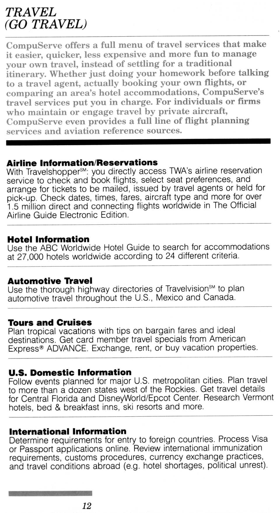 [CompuServe IntroPak page 12/44  Travel (GO TRAVEL)]