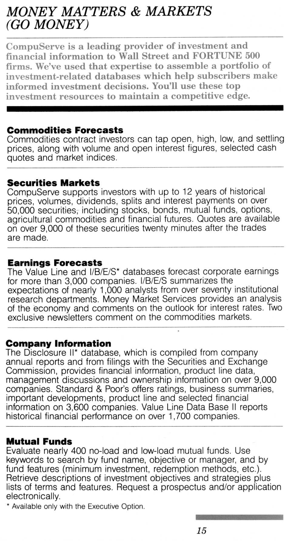 [CompuServe IntroPak page 15/44  Money Matters & Markets (GO MONEY)]