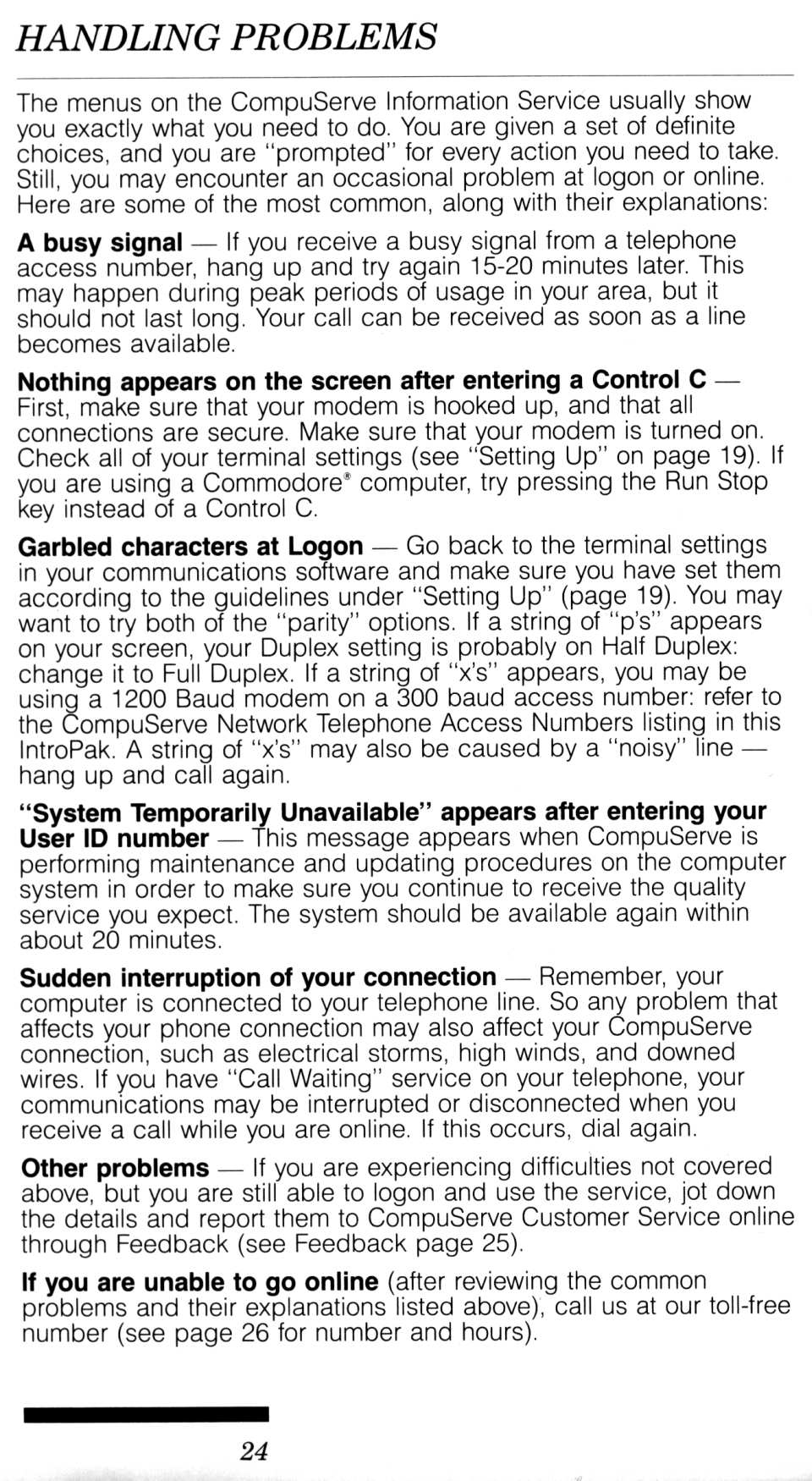 [CompuServe IntroPak page 24/44  Handling Problems]