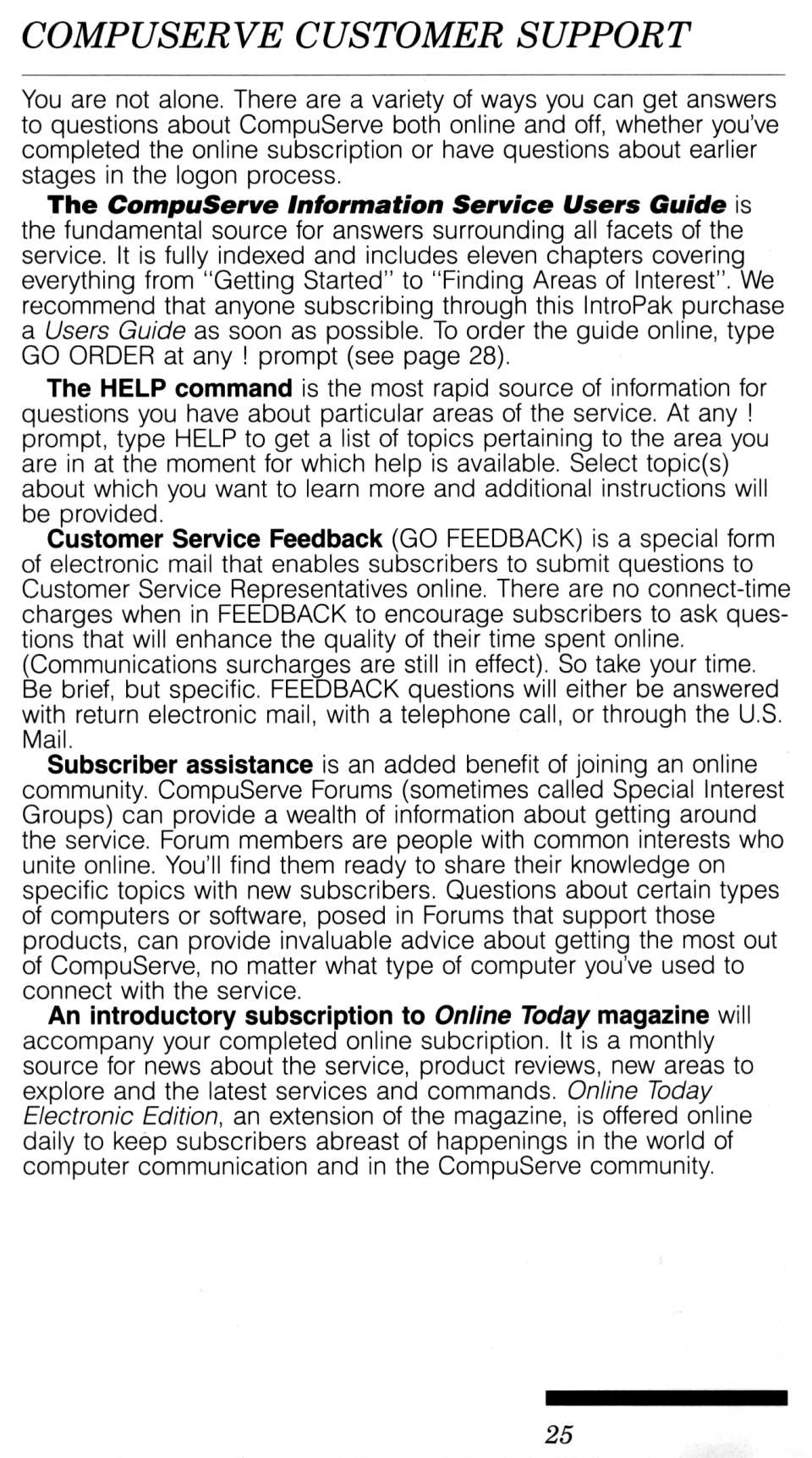 [CompuServe IntroPak page 25/44  CompuServe Customer Support (1/2)]