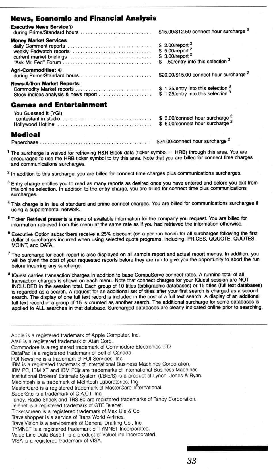 [CompuServe IntroPak page 33/44  Transaction/Premium Program Rates (3/3)]