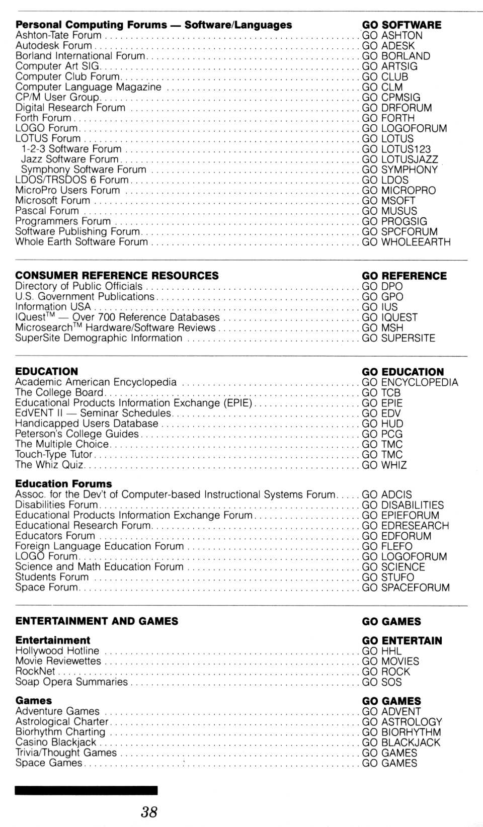[CompuServe IntroPak page 38/44  Information Service Highlights (2/6)]