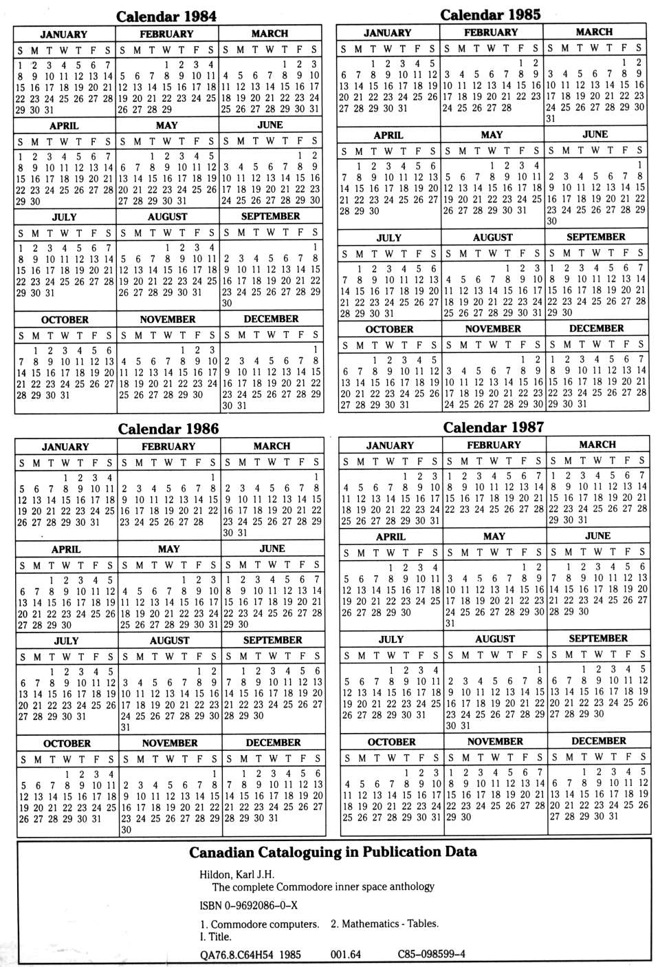 [960�1405 Calendar 1984-1987 and Canadian Cataloguing in Publication Data]